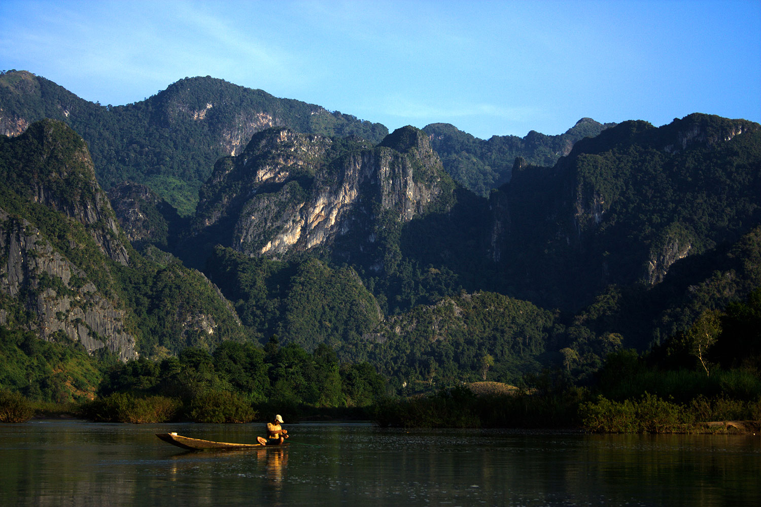 Fisherman on Mekong, Laos